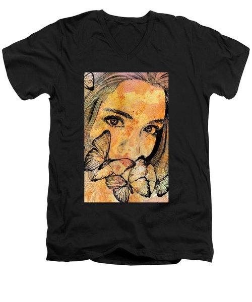 Remain Sedate Men's V-Neck T-Shirt by Marco Paludet