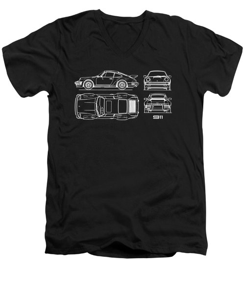 The 911 Turbo Blueprint Men's V-Neck T-Shirt