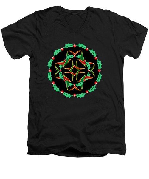 Celtic Christmas Holly Wreath Men's V-Neck T-Shirt