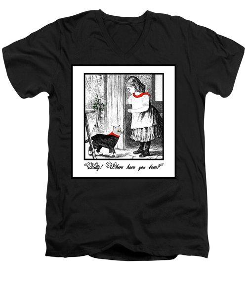 Vintage Girl Lets In Her Gray Cat Men's V-Neck T-Shirt