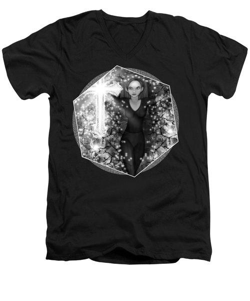 Breaking Through Darkness - Black And White Fantasy Art Men's V-Neck T-Shirt