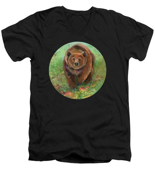 Grizzly In The Meadow Men's V-Neck T-Shirt