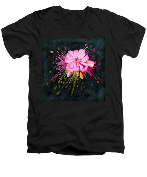 Men's V-Neck T-Shirt featuring the painting Color Eruption  by Ivana Westin