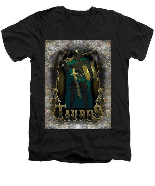 The Bull Taurus Spirit Men's V-Neck T-Shirt