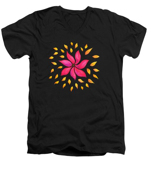 Abstract Whimsical Watercolor Pink Flower Men's V-Neck T-Shirt
