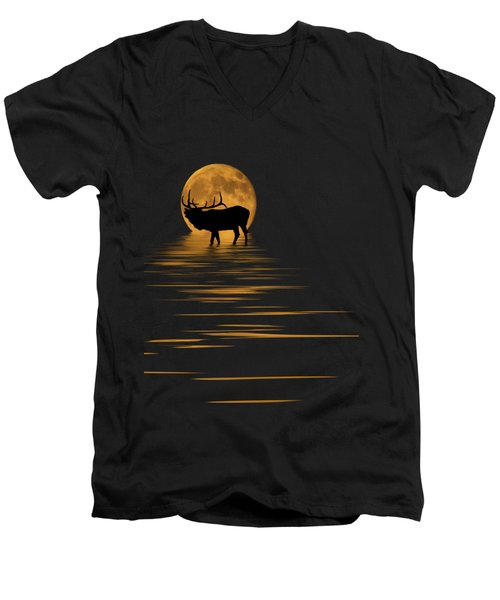 Elk In The Moonlight Men's V-Neck T-Shirt by Shane Bechler