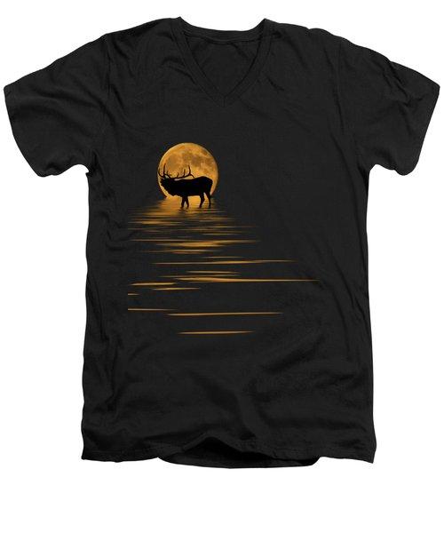 Elk In The Moonlight Men's V-Neck T-Shirt