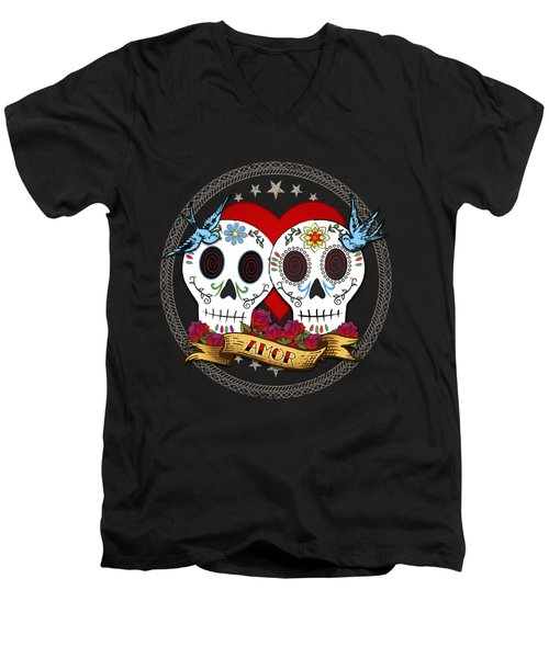 Love Skulls II Men's V-Neck T-Shirt by Tammy Wetzel