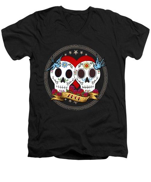 Love Skulls II Men's V-Neck T-Shirt