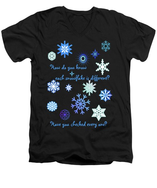 Snowflakes 2 Men's V-Neck T-Shirt by Methune Hively