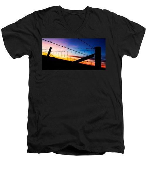 Men's V-Neck T-Shirt featuring the photograph Hilltop Sunset by Bill Kesler