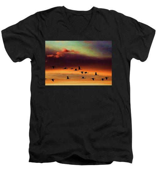 Sandhill Cranes Take The Sunset Flight Men's V-Neck T-Shirt