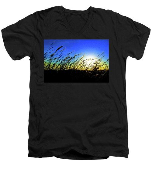 Men's V-Neck T-Shirt featuring the photograph Tall Grass by Bill Kesler