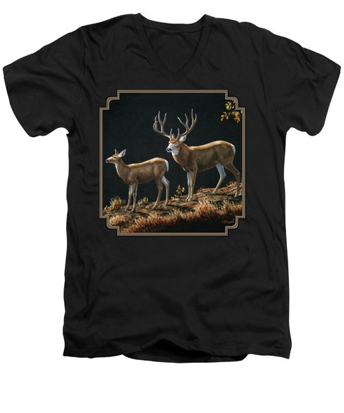 Mule Deer Ridge Men's V-Neck T-Shirt by Crista Forest