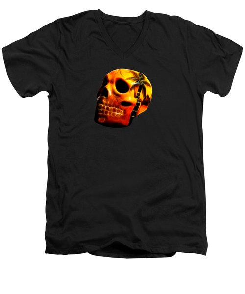 Glowing Skull Men's V-Neck T-Shirt