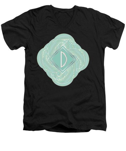 1920s Blue Deco Jazz Swing Monogram ...letter D Men's V-Neck T-Shirt by Cecely Bloom