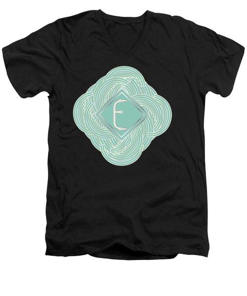 1920s Blue Deco Jazz Swing Monogram ...letter E Men's V-Neck T-Shirt by Cecely Bloom