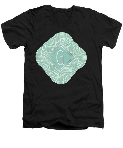 1920s Blue Deco Jazz Swing Monogram ...letter G Men's V-Neck T-Shirt by Cecely Bloom