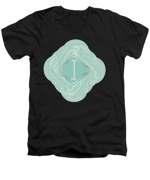 1920s Blue Deco Jazz Swing Monogram ...letter I Men's V-Neck T-Shirt by Cecely Bloom