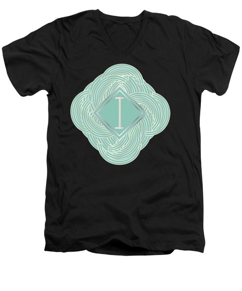 1920s Blue Deco Jazz Swing Monogram ...letter I Men's V-Neck T-Shirt