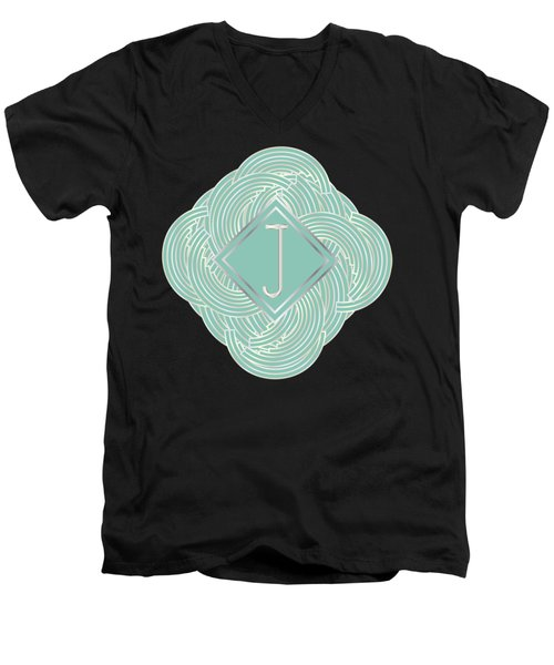 1920s Blue Deco Jazz Swing Monogram ...letter J Men's V-Neck T-Shirt by Cecely Bloom