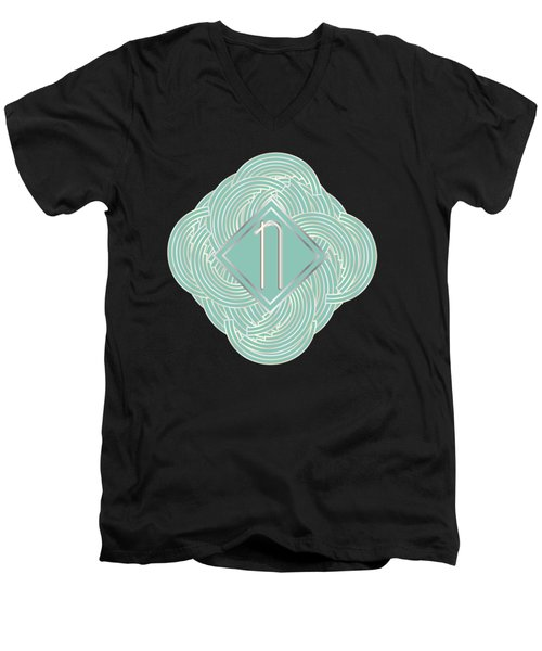 1920s Blue Deco Jazz Swing Monogram ...letter N Men's V-Neck T-Shirt by Cecely Bloom