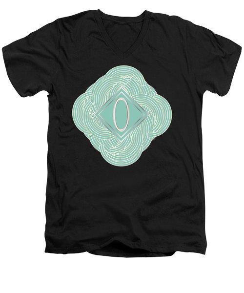 1920s Blue Deco Jazz Swing Monogram ...letter O Men's V-Neck T-Shirt by Cecely Bloom
