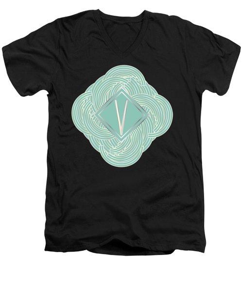1920s Blue Deco Jazz Swing Monogram ...letter V Men's V-Neck T-Shirt by Cecely Bloom