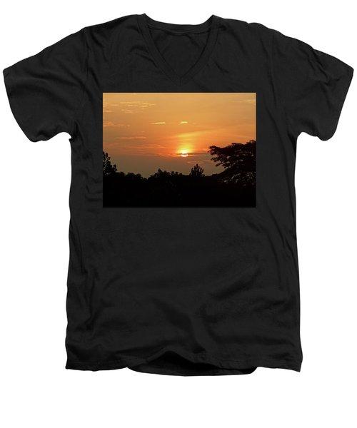 As The Sun Sets ... Orange Men's V-Neck T-Shirt by Exploramum Exploramum
