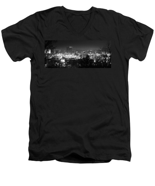 Asheville North Carolina Skyline Men's V-Neck T-Shirt