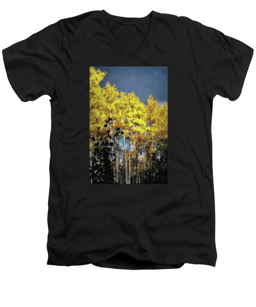 Men's V-Neck T-Shirt featuring the photograph Aspen Impressions by Jim Hill