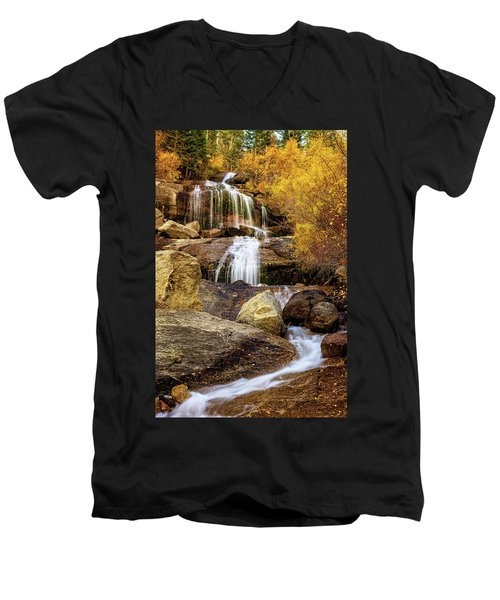 Aspen-lined Waterfalls Men's V-Neck T-Shirt