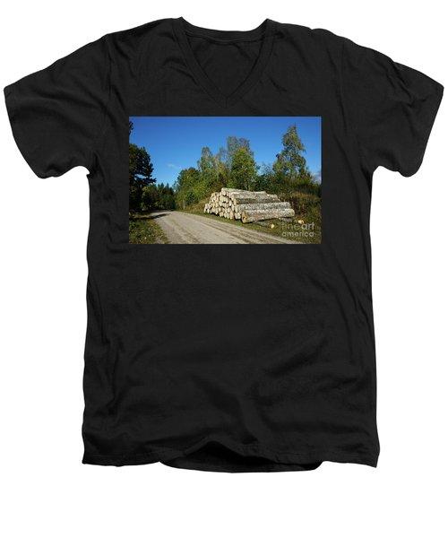 Men's V-Neck T-Shirt featuring the photograph Aspen Timber by Kennerth and Birgitta Kullman
