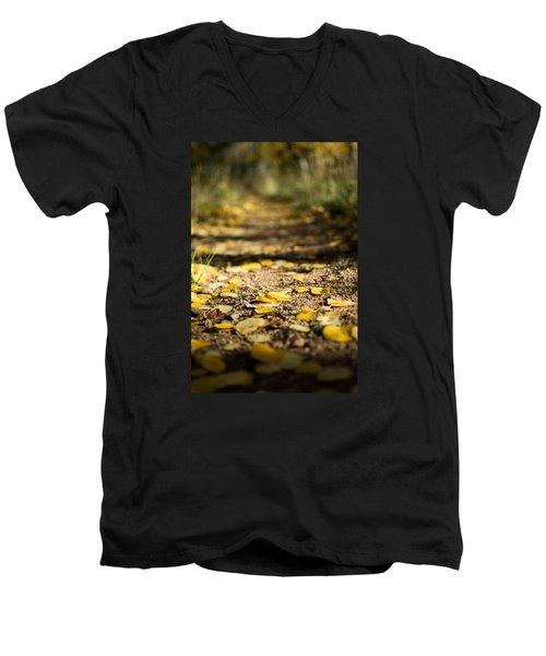 Aspen Leaves On Trail Men's V-Neck T-Shirt