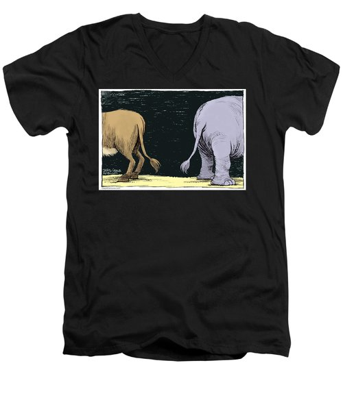 Men's V-Neck T-Shirt featuring the drawing Asses by Daryl Cagle