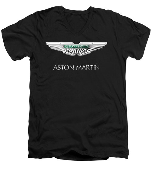 Aston Martin 3 D Badge On Black  Men's V-Neck T-Shirt by Serge Averbukh