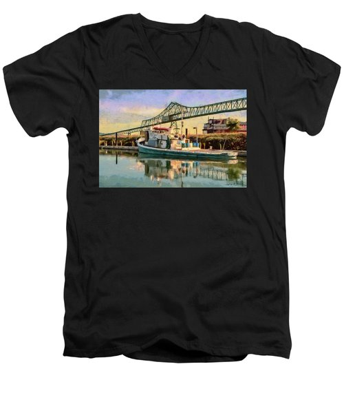 Men's V-Neck T-Shirt featuring the painting Astoria Waterfront, Scene 1 by Jeff Kolker