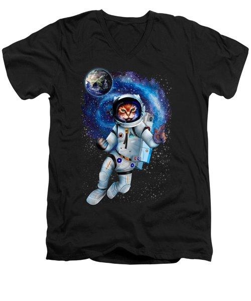 Astronaut Cat Men's V-Neck T-Shirt