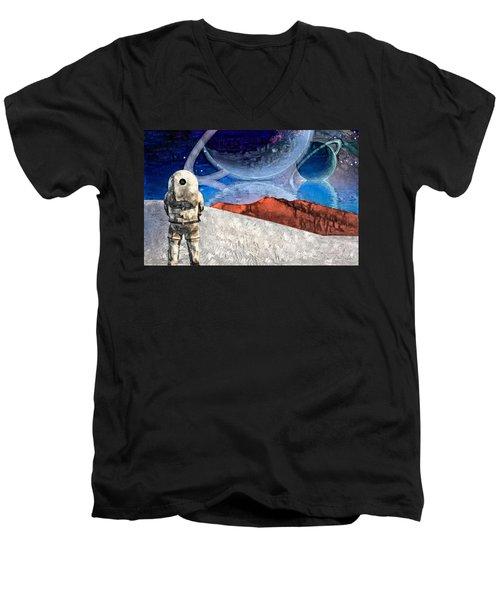 Astronaut On Exosolar Planet Men's V-Neck T-Shirt