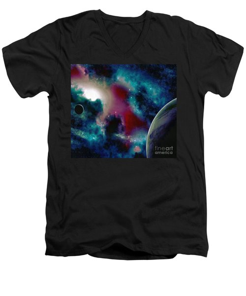 Astronomy Painting Glammed Out Teal Men's V-Neck T-Shirt