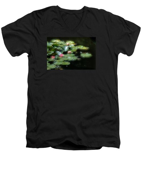 Men's V-Neck T-Shirt featuring the photograph At Claude Monet's Water Garden 11 by Dubi Roman