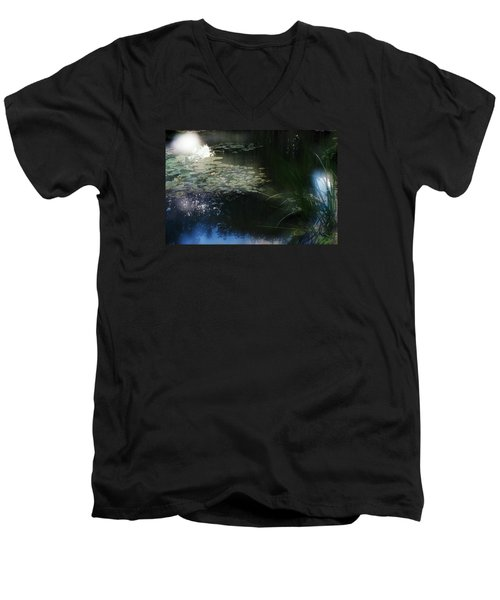 Men's V-Neck T-Shirt featuring the photograph At Claude Monet's Water Garden 3 by Dubi Roman