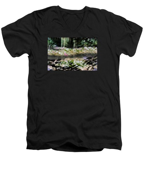 Men's V-Neck T-Shirt featuring the photograph At Claude Monet's Water Garden 9 by Dubi Roman