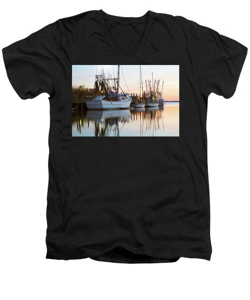 Men's V-Neck T-Shirt featuring the photograph At Rest - Shem Creek by Donnie Whitaker