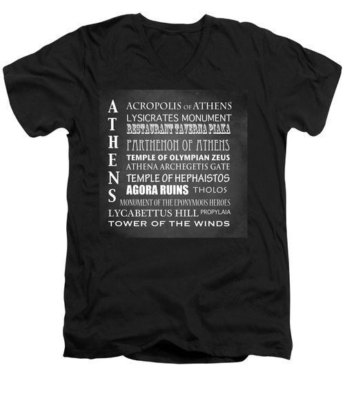 Athens Famous Landmarks Men's V-Neck T-Shirt