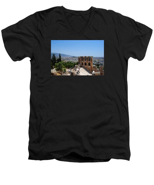 Men's V-Neck T-Shirt featuring the photograph Athens by Robert Moss
