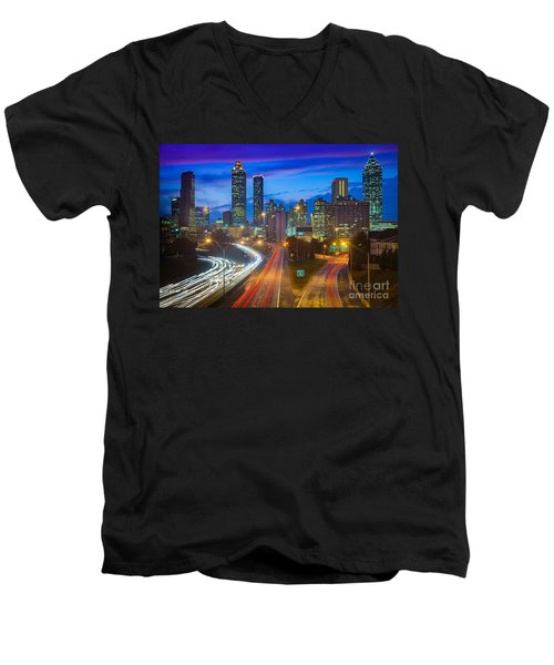 Atlanta Downtown By Night Men's V-Neck T-Shirt