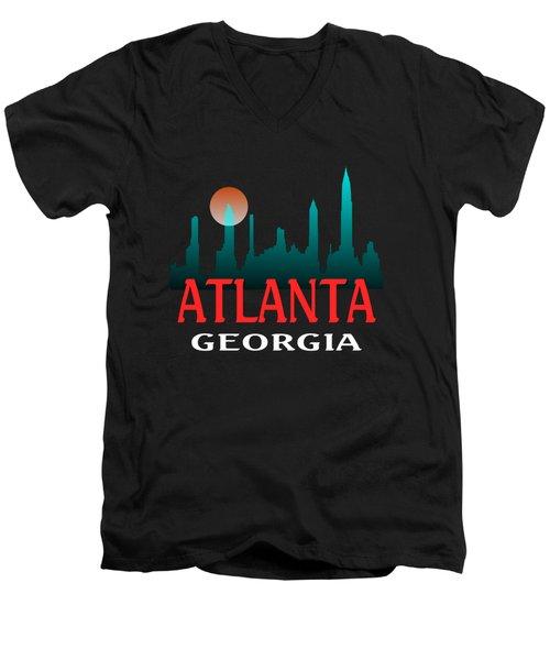 Atlanta Georgia Tshirt Design Men's V-Neck T-Shirt by Art America Gallery Peter Potter