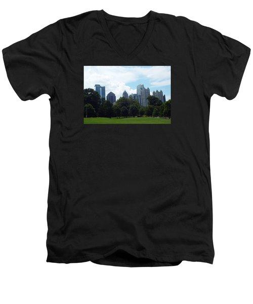 Men's V-Neck T-Shirt featuring the photograph Atlanta Skyline by Jake Hartz