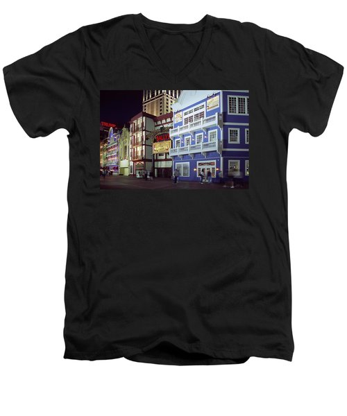 Atlantic City Boardwalk At Night Men's V-Neck T-Shirt by Sally Weigand